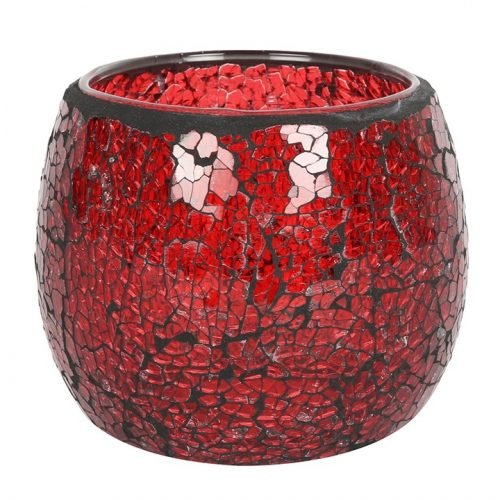 Large Red Crackle Glass Candle Holder